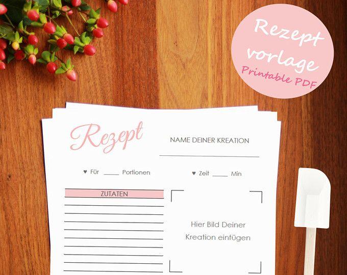 rezeptvorlage zum drucken printable recipe template kochbuch selber drucken backrezepte. Black Bedroom Furniture Sets. Home Design Ideas