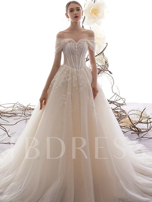 Off the Shoulder Appliques Sequins Wedding Dress 2019