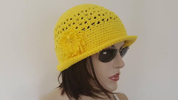 Womens Crochet Hat 1920s Style Hat With Large Brim Hat Flapper Hat