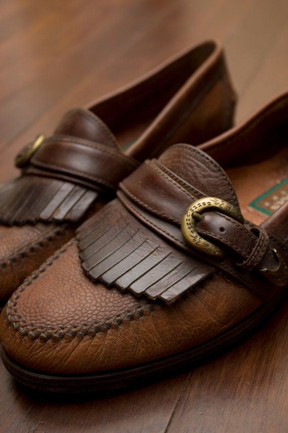 9640c545594 RESERVED for elegiacally: Vintage Single-Strapped Kiltie fringe Loafers  w/brass buckle by