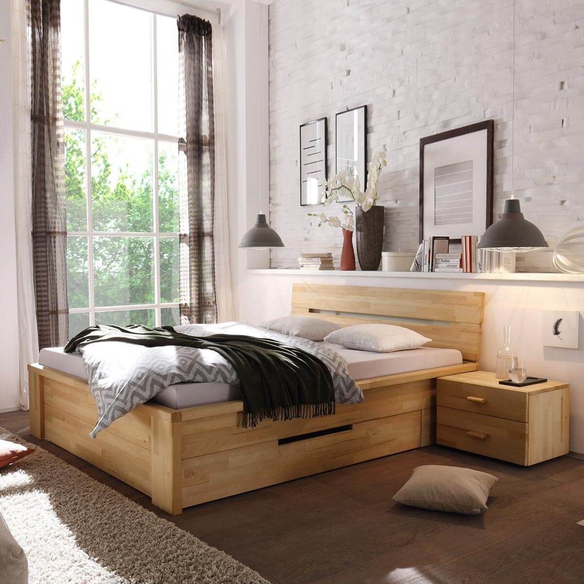 bett roros 160x200 mit schubladen in kernbuche massiv. Black Bedroom Furniture Sets. Home Design Ideas