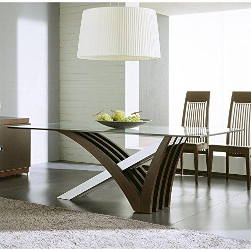 Rossetto Mirage Clear Glass Dining Table in Wenge Kitchen Design