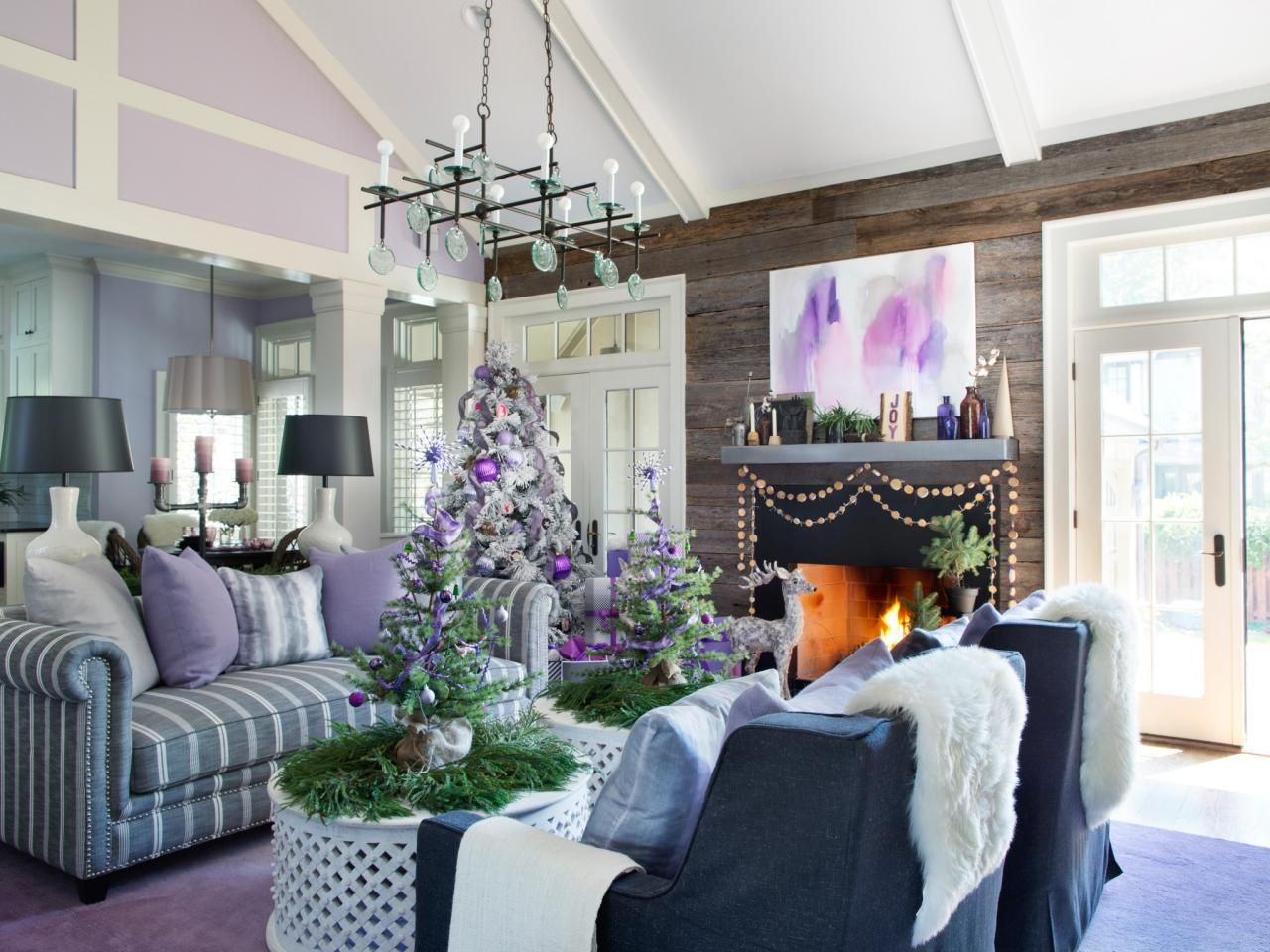 This winter add a touch of a modern romance in your holiday decor with modern festive palette of colors lavender gray and purple