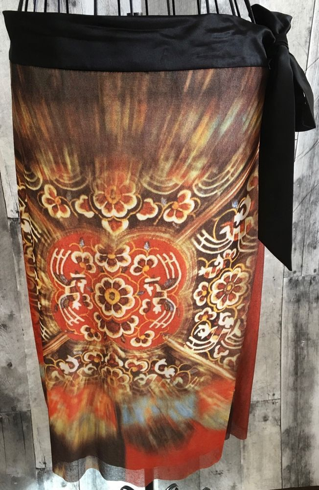 Vivienne Tam Skirt Asian Mandala Print Satin Trim Fully Lined Nylon Mesh Size 2 #VivienneTam #Skirt