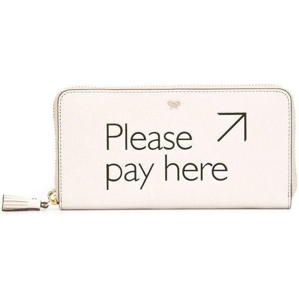 Anya Hindmarch 'Please Pay Here' Wallet ($525) ❤ liked on Polyvore featuring bags, wallets, white, leather wallet, white leather bag, real leather wallets, real leather bag and genuine leather bag