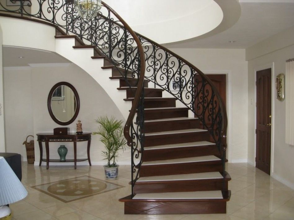 Stair, : Cool Home Interior Decoration With Freestanding Spiral Staircase  Along With Black Wrought Iron Staircase Baluster And Cream Marble Home  Flooring