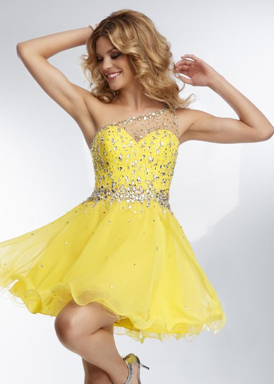 Cheap Yellow One Shoulder Sheer Beaded Short Cocktail Dress ...