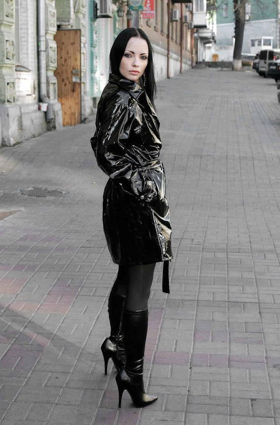 Black Pvc Short Trench Coat Black Hose And High Heel Boots -2663