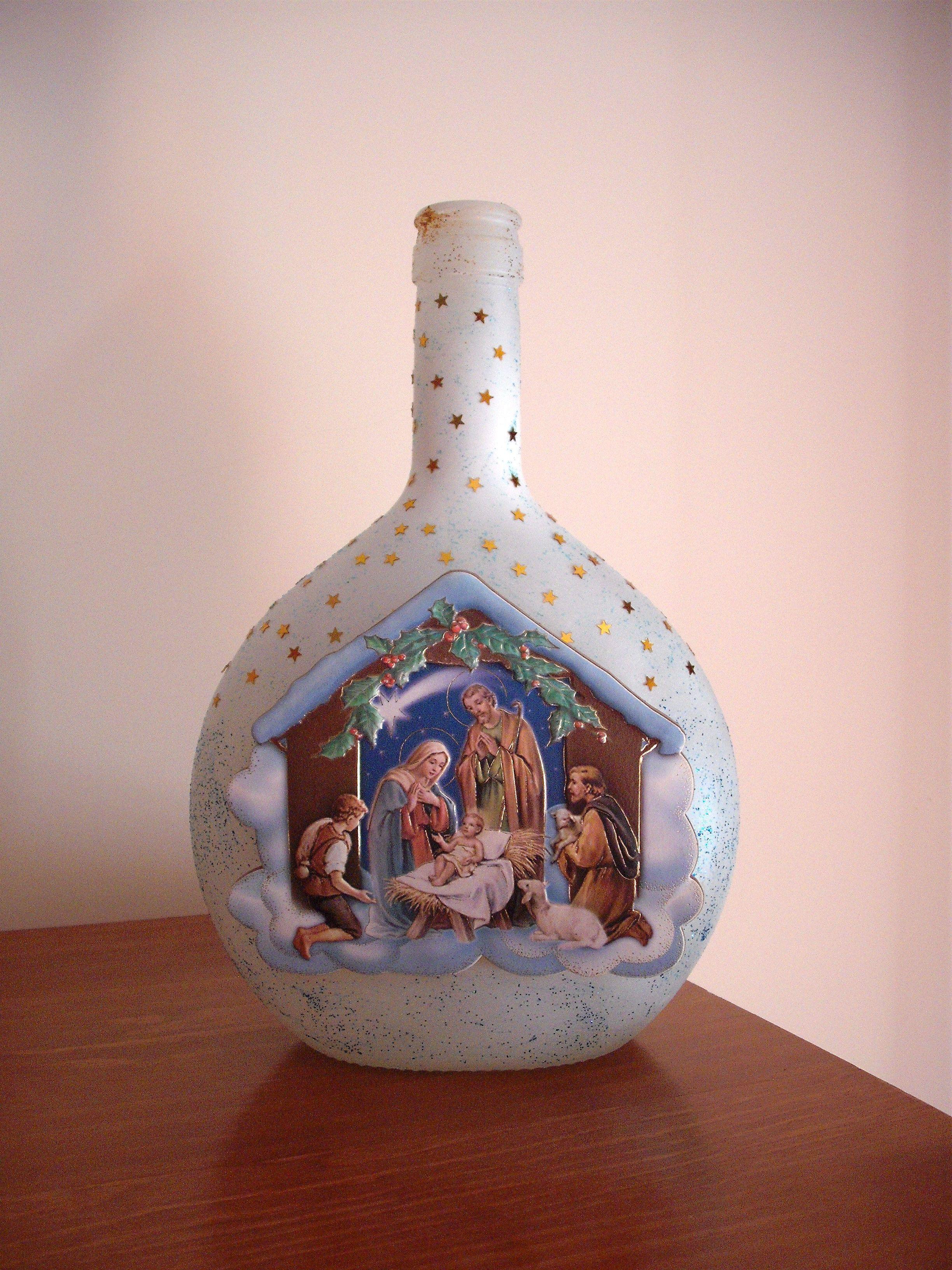 Aparador Sala Ikea ~ Garrafa presépio bottle crib Garrafas decoradas Pinterest Garrafas decoradas, Natal e Vidros