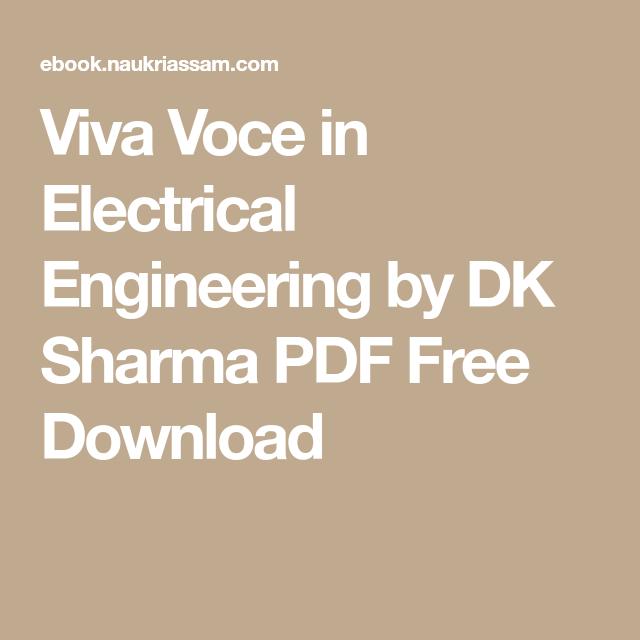 Viva Voce in Electrical Engineering by DK Sharma PDF Free