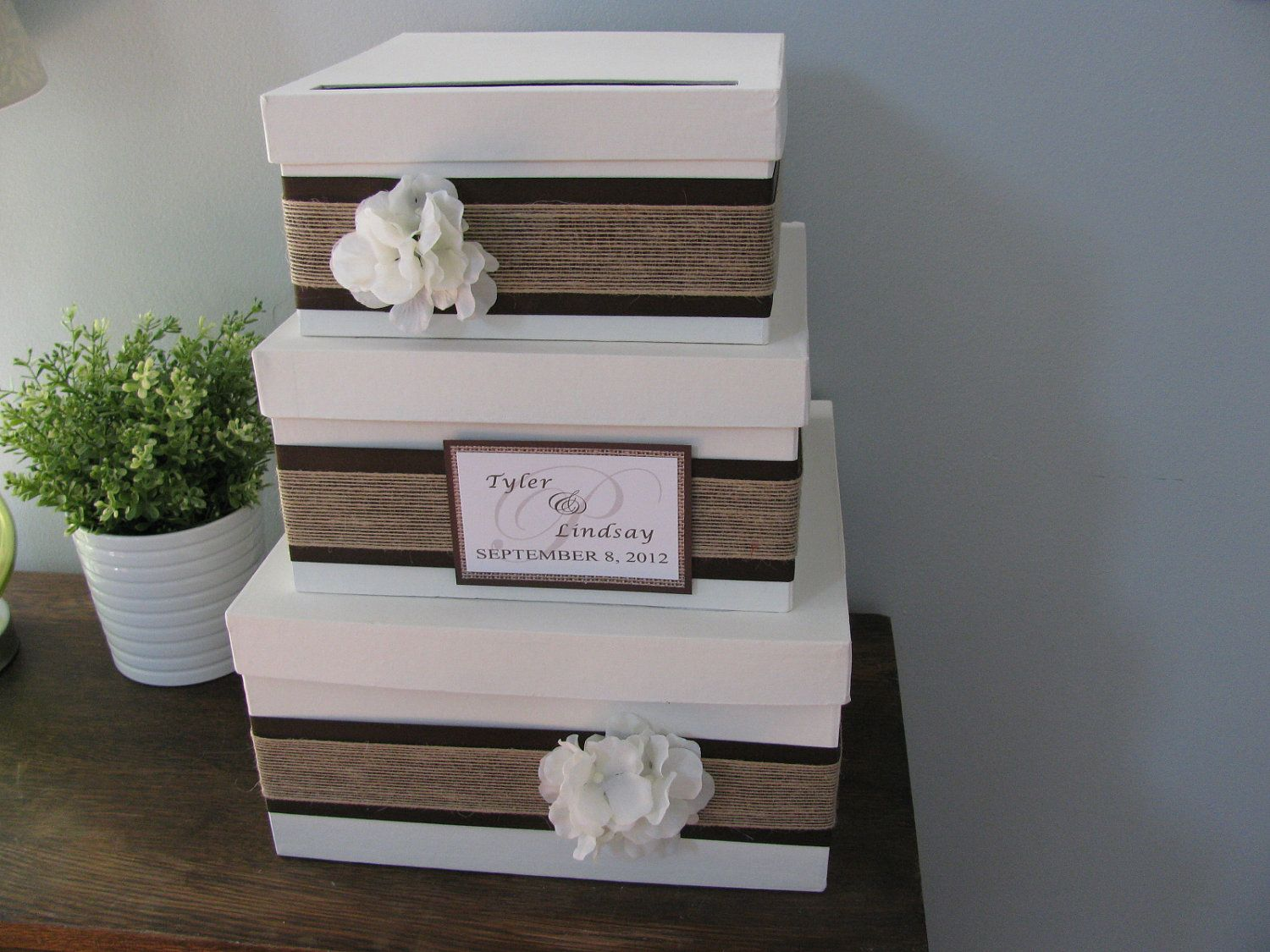 Wedding card box modern rustic tiered with chocolate brown ribbon