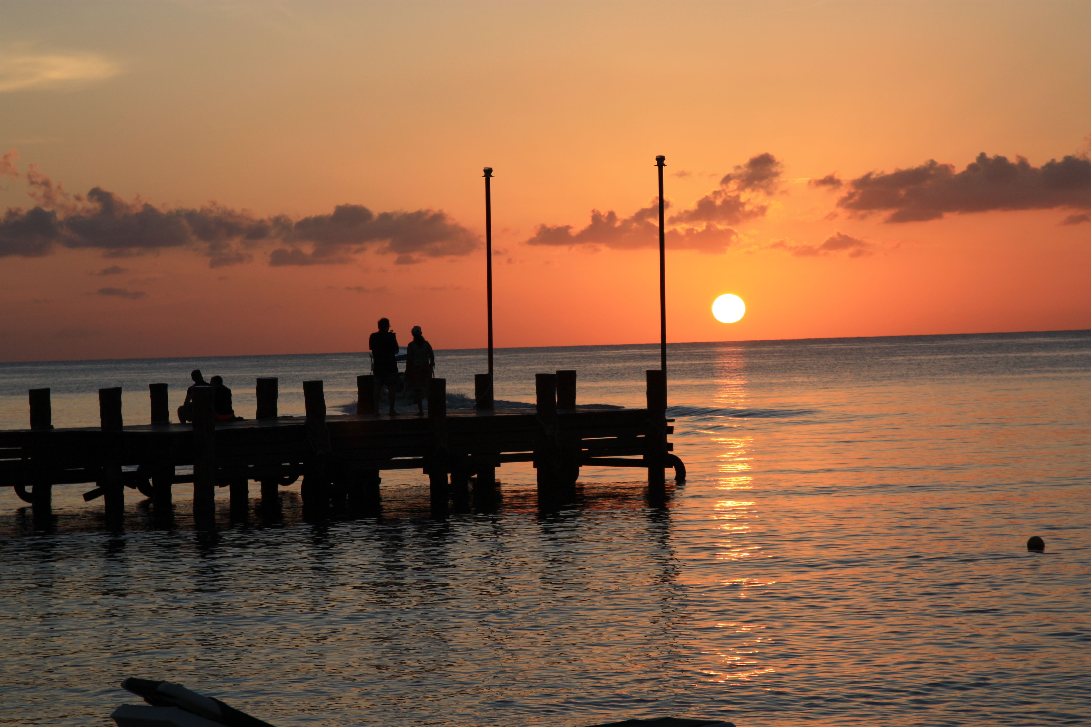 Sunset by the pier at Occidental Grand, Cozumel