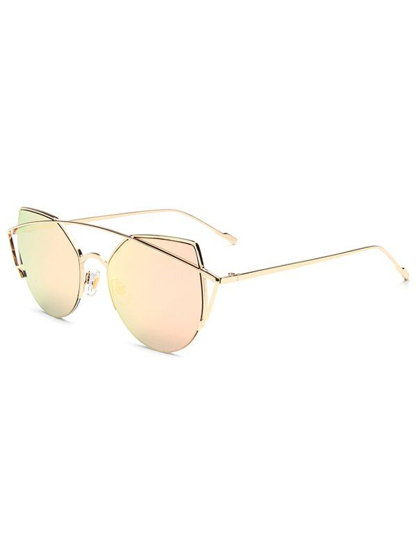 d36101e8ef8 Hipsters Crossbar Irregular Cat Eye Mirrored Sunglasses