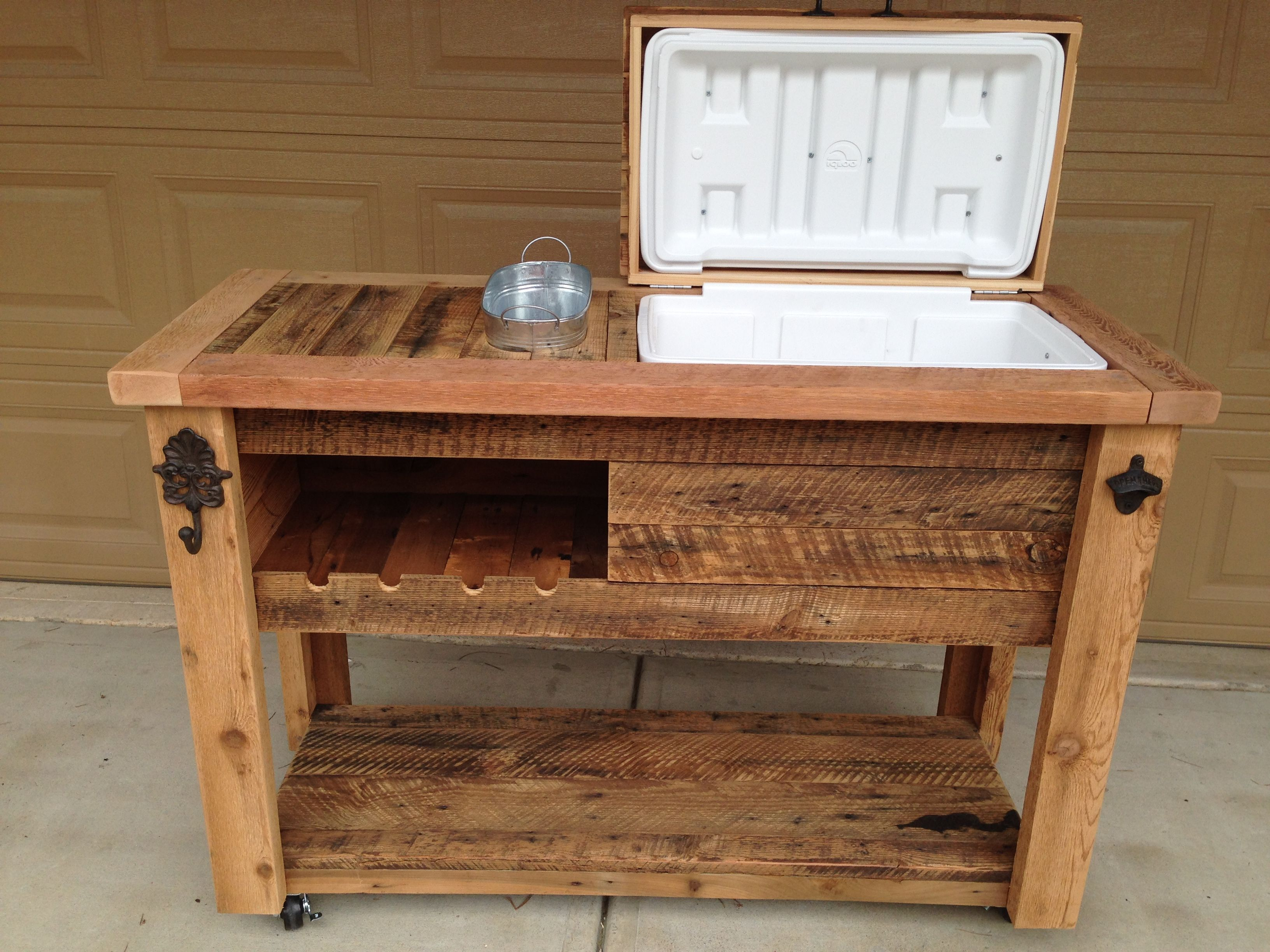 Amazing BARN WOOD COOLER TABLE Approximate Product Dimensions: 51W X 20D X 36H  Approximate Weight: