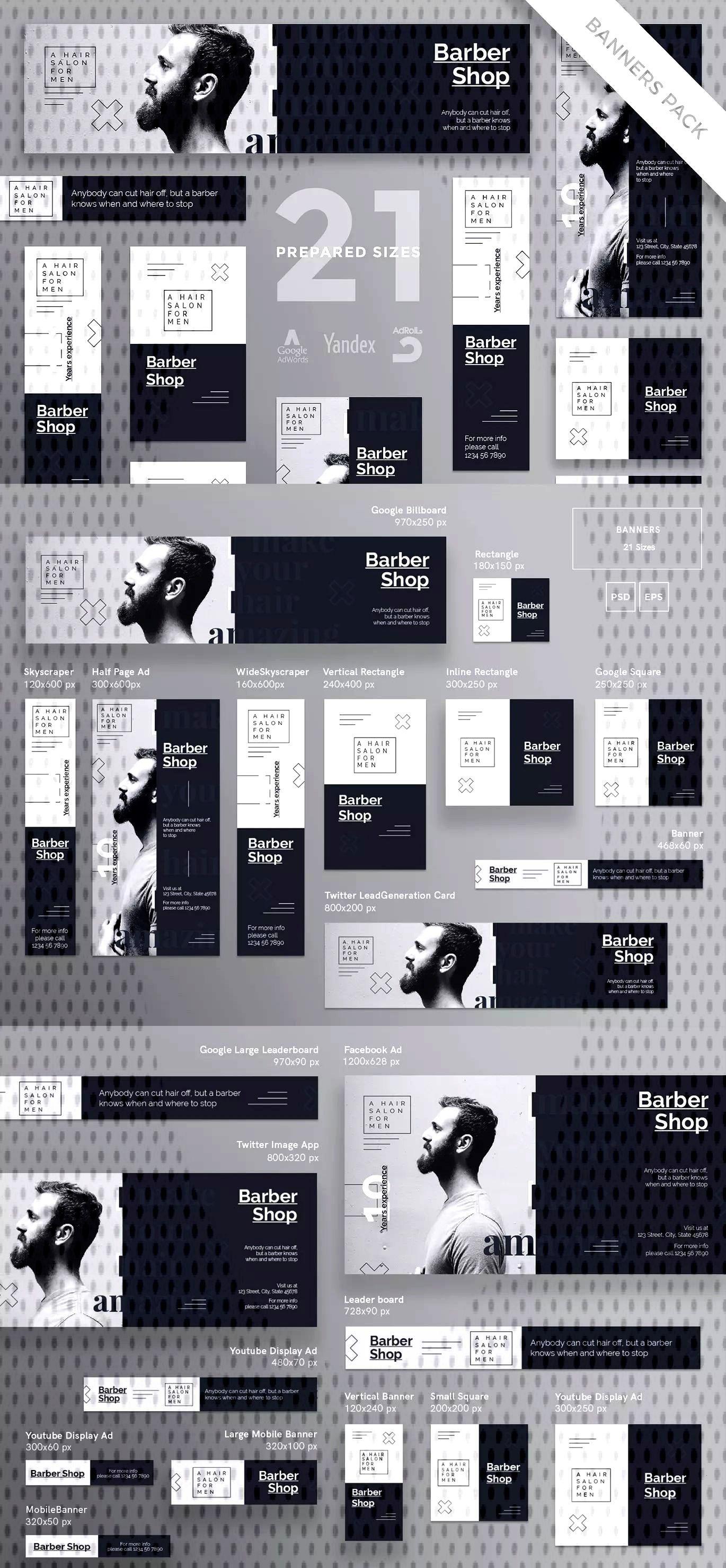 Barbershop Template Haircut Banner Pack Eps Psd Barbershop Haircut Banner Pack Template Ep Diseno Banner Diseno De Sitios Web Diseno Grafico De Catalogo