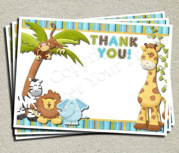 Jungle Thank You Card Jungle Theme Birthday Monkey Butt Turns 1