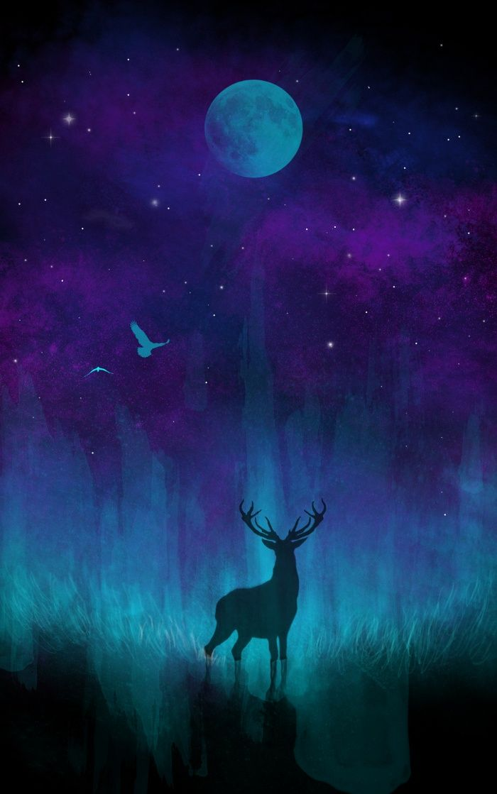 Awesome Society6 Art Deer Stag Moon Stars Birds Forest Nature Boho Bohemian Space