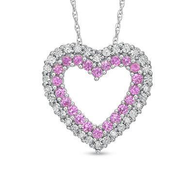 Pink sapphire diamond heart pendant necklace hearts pink sapphire diamond heart pendant necklace aloadofball Gallery