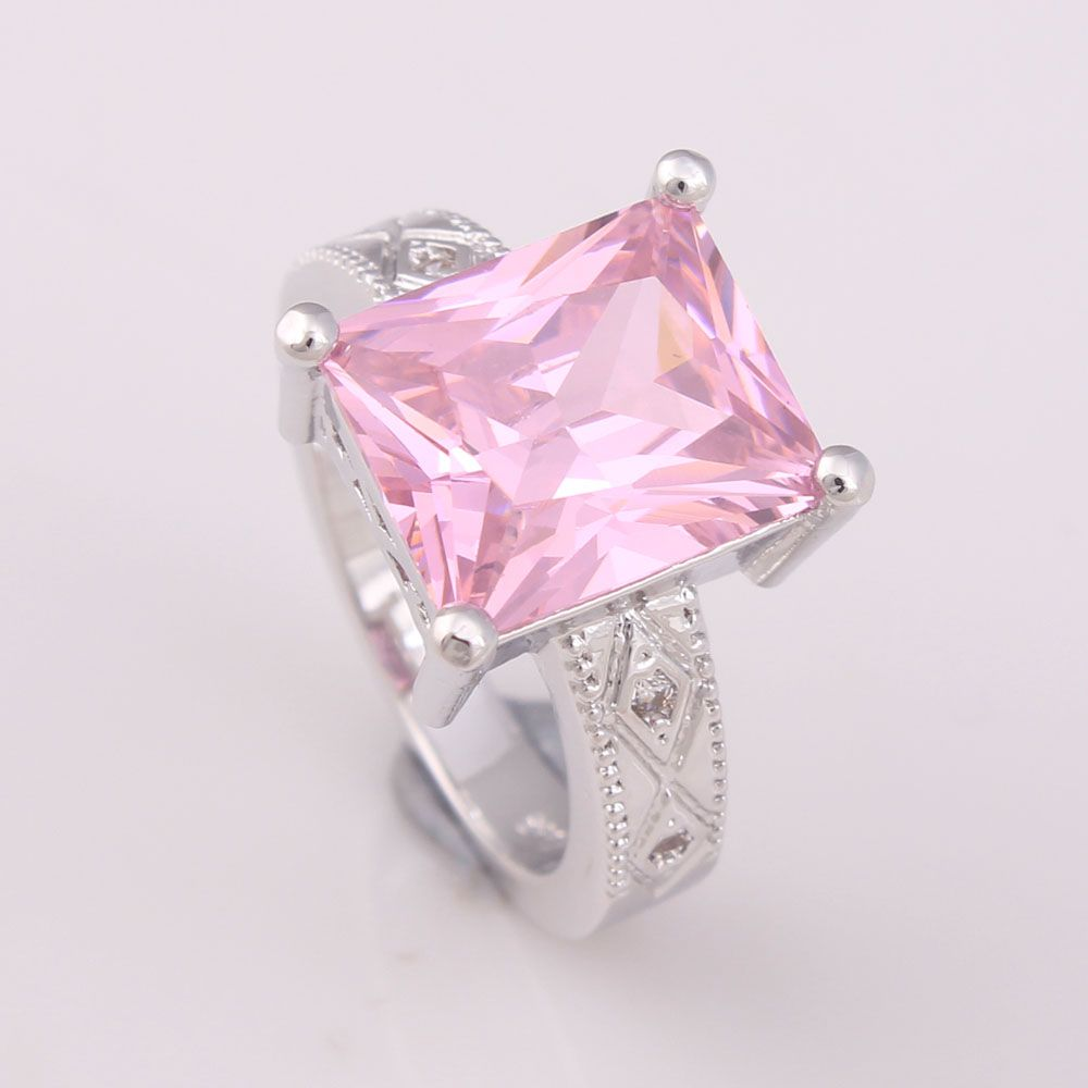 square pink cz zircon paved women Wedding Rings 2017 luxury women ...