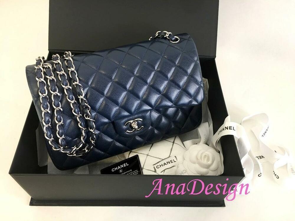 32ecd7a1155e Chanel Classic Jumbo Blue Caviar Double Flap Bag SHW w/Authenticity  Certificate