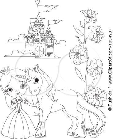 princess and castle (With images) | Unicorn coloring pages ...