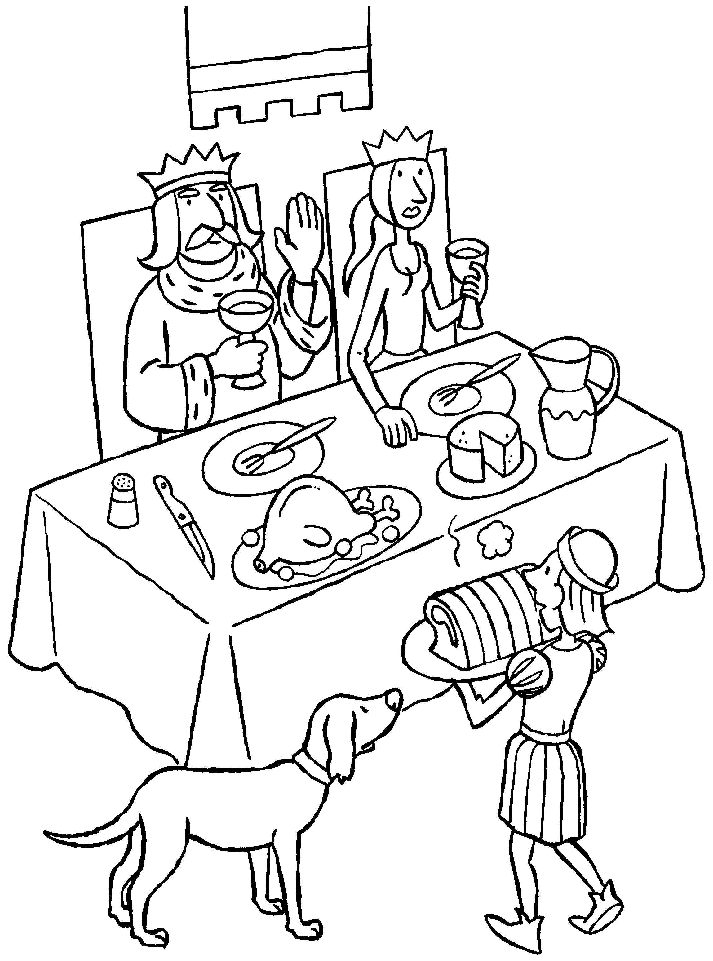 de koning en koningin dineren ridders kleurplaten koning