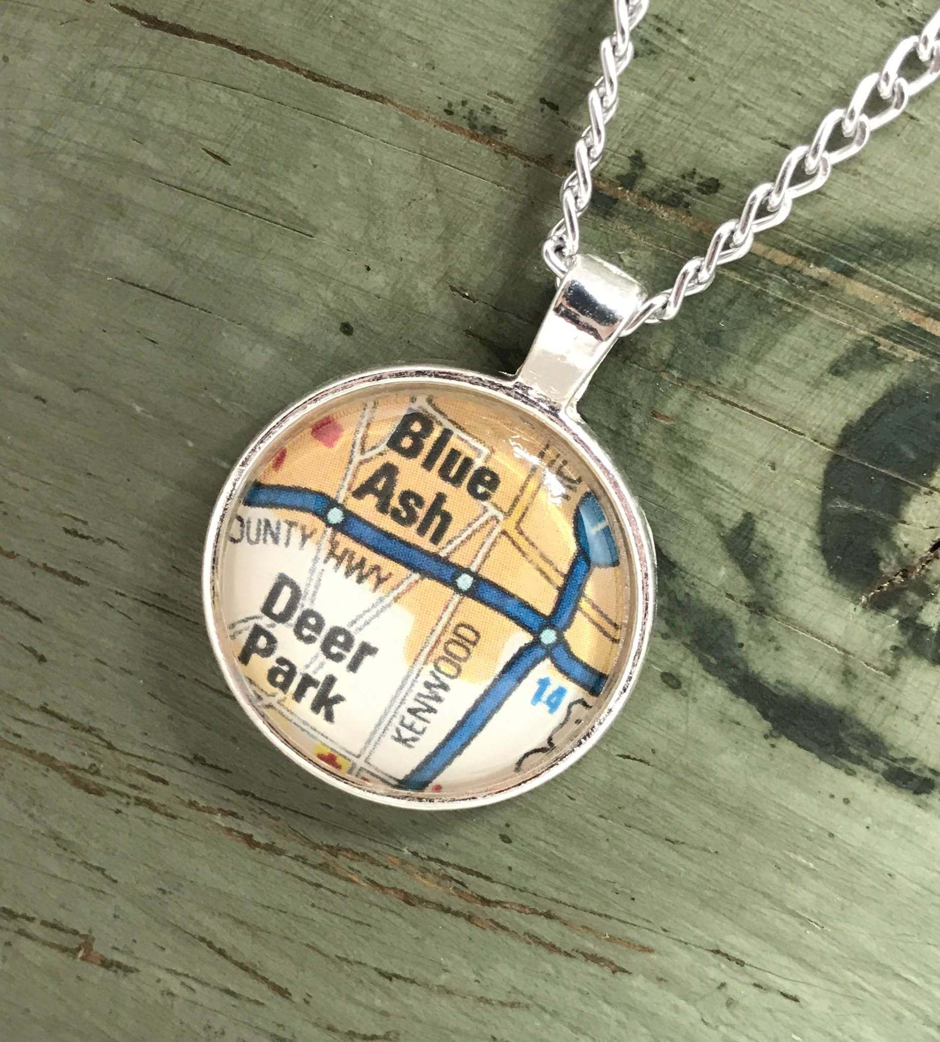 Blue Ash Ohio Map Necklace Vintage Map
