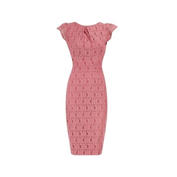 Pink lace pencil dress ❤ liked on Polyvore