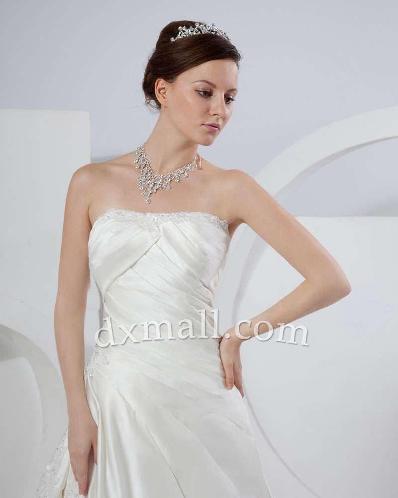 A-line Wedding Dresses Strapless Chapel Train Taffeta Satin Ivory ...