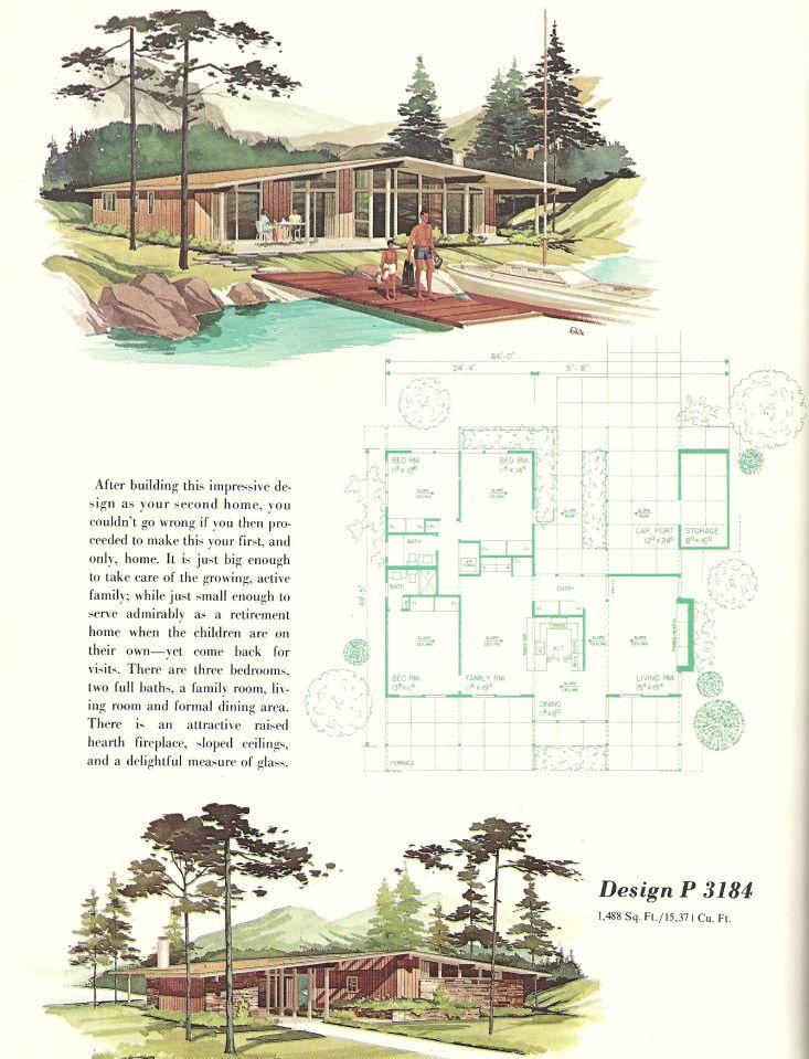 Vintage House Plans 3184 Mid Century Modern House Plans Vintage House Plans House Plans