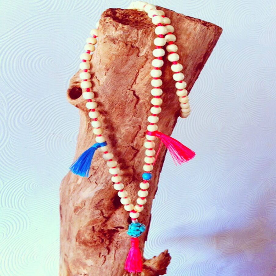 Mala inspired long necklace with wooden beads, big turquoise nugget and tassels, handmade jewelry by MomMa