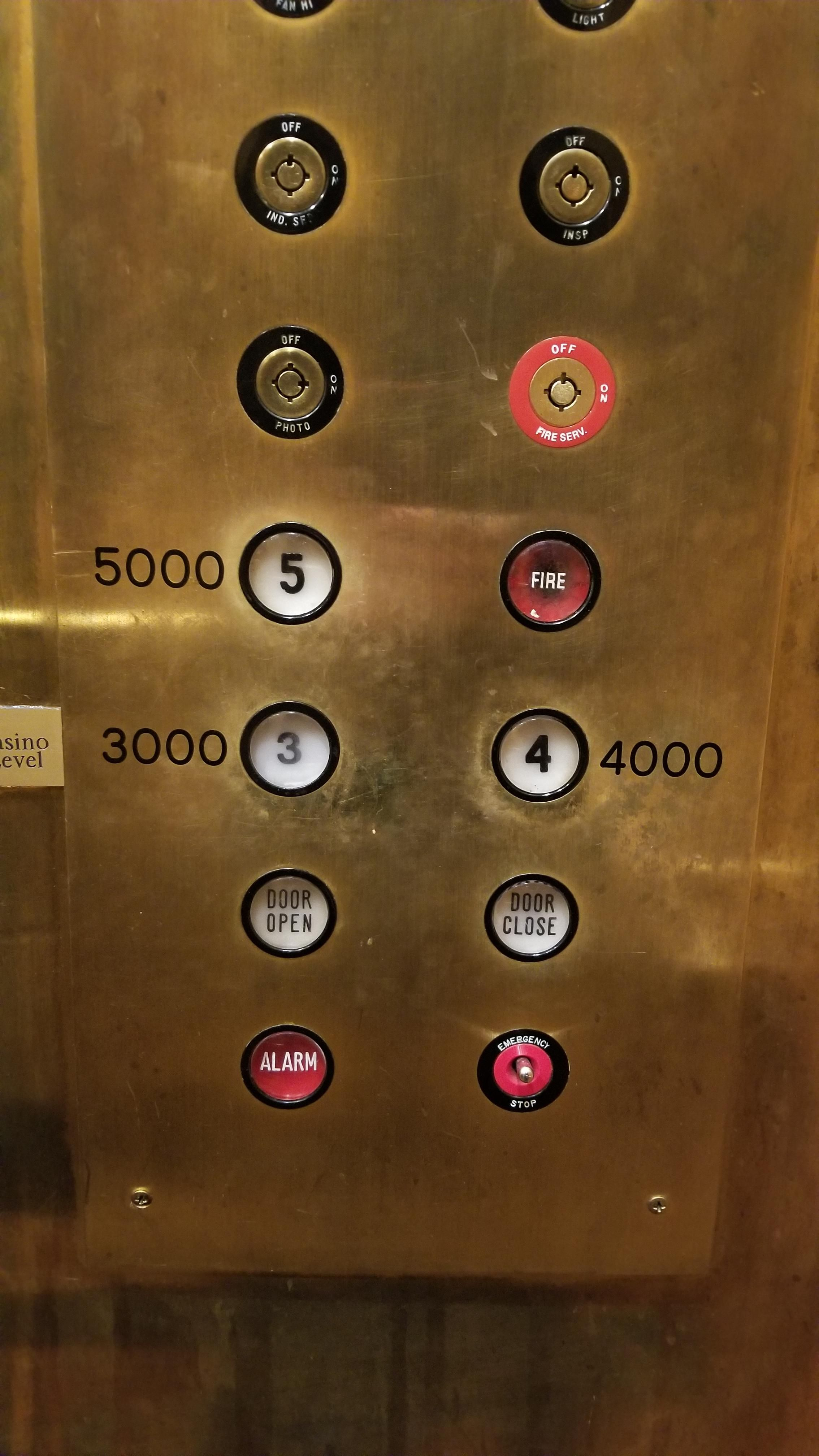 This elevator at the casino I'm staying at. 3 is the first