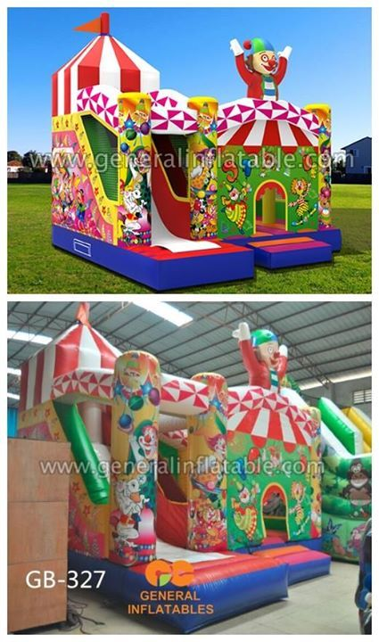 GB-327 Circus combo Size meter:5.5mLx5mWx5.3mH Size feet: 18ftLx16.5ftWx17.5ftH #inflatable #inflatablecombo #circusinflatable