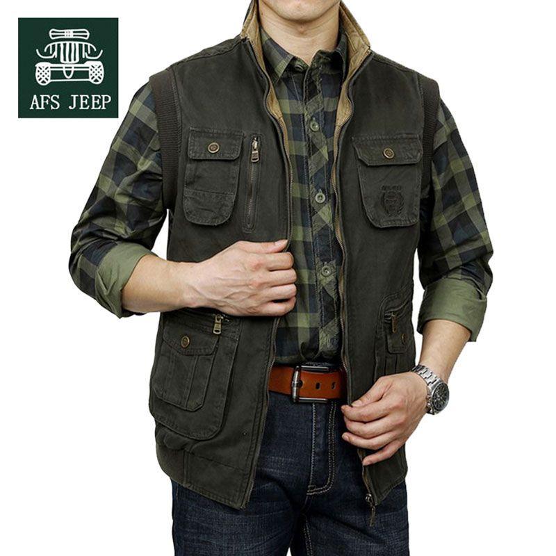 b1e8038531058 M~3XL 2015 Autumn Spring Reversible Casual Men Vest Coat AFS JEEP Cotton  Pocket Cargo Outdoor Sleeveless Jackets Waistcoat ...