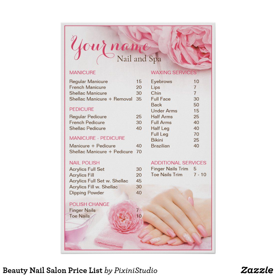 Beauty Nail Salon Price List Poster Zazzle Com In 2020 With