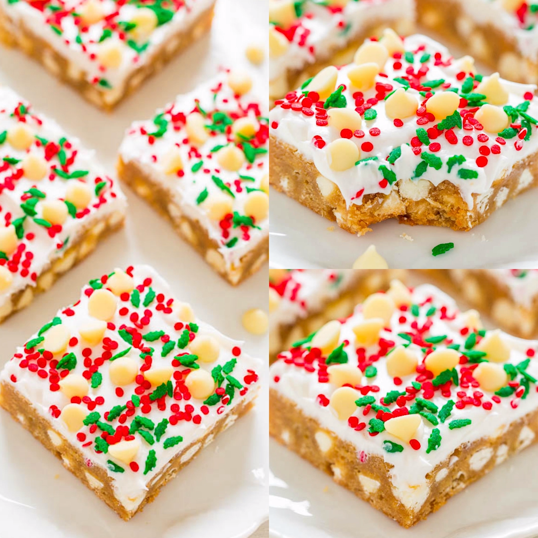 White Chocolate Christmas Blondies with Cream Cheese Frosting🎄😍🙌- SOFT, buttery blondies loaded with white chocolate, sprinkles, and tangy cream cheese frosting!! EASY and perfect for Christmas parties and holiday events!!