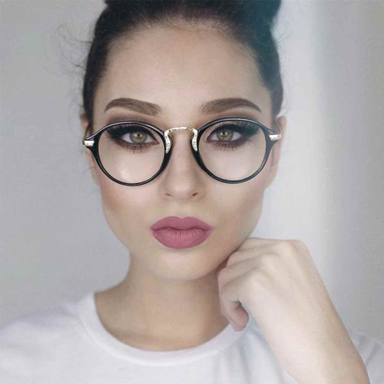 Vintage Clear Lens Round Oval Key Hole Eyeglasses Large Frame Women Glasses