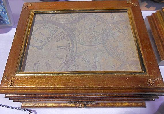 Steampunk Clocks Wooden Jewelry Box by StudioLTD on Etsy