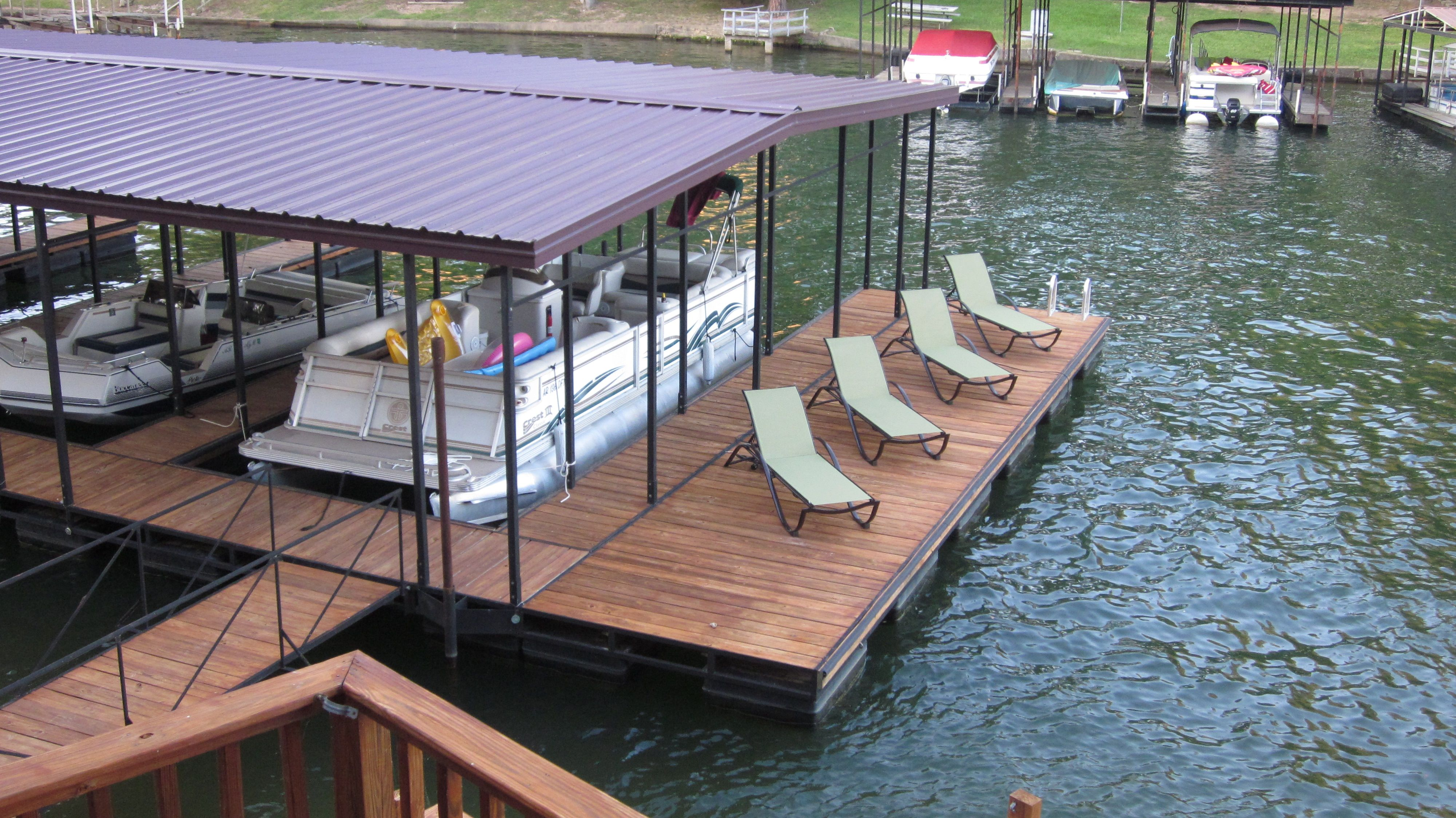 multiple slip floating boat dock with patio dock design and construction by williamson boat. Black Bedroom Furniture Sets. Home Design Ideas