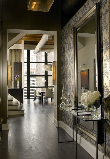 Contemporary entry by jamesthomas llc room lobby for Immense miroir