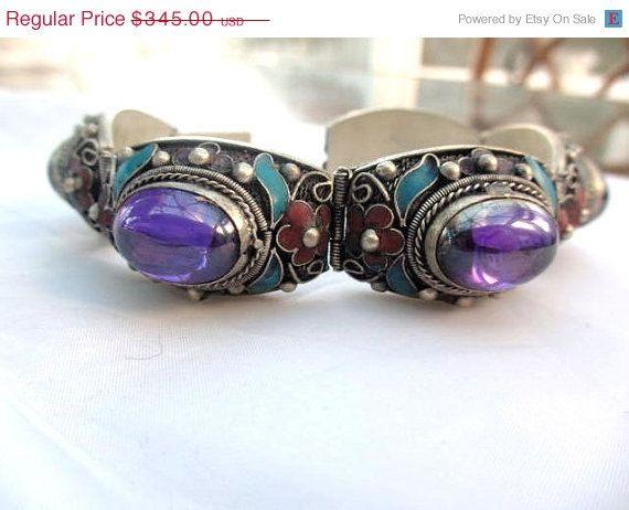 Chinese Enamel Purple Glass Silver Bracelet Vintage by OurBoudoir, $293.25