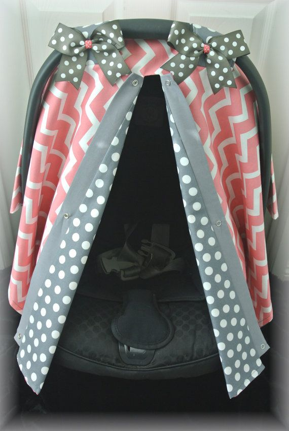 Carseat Canopy Car Seat Cover Coral Gray Grey Polka