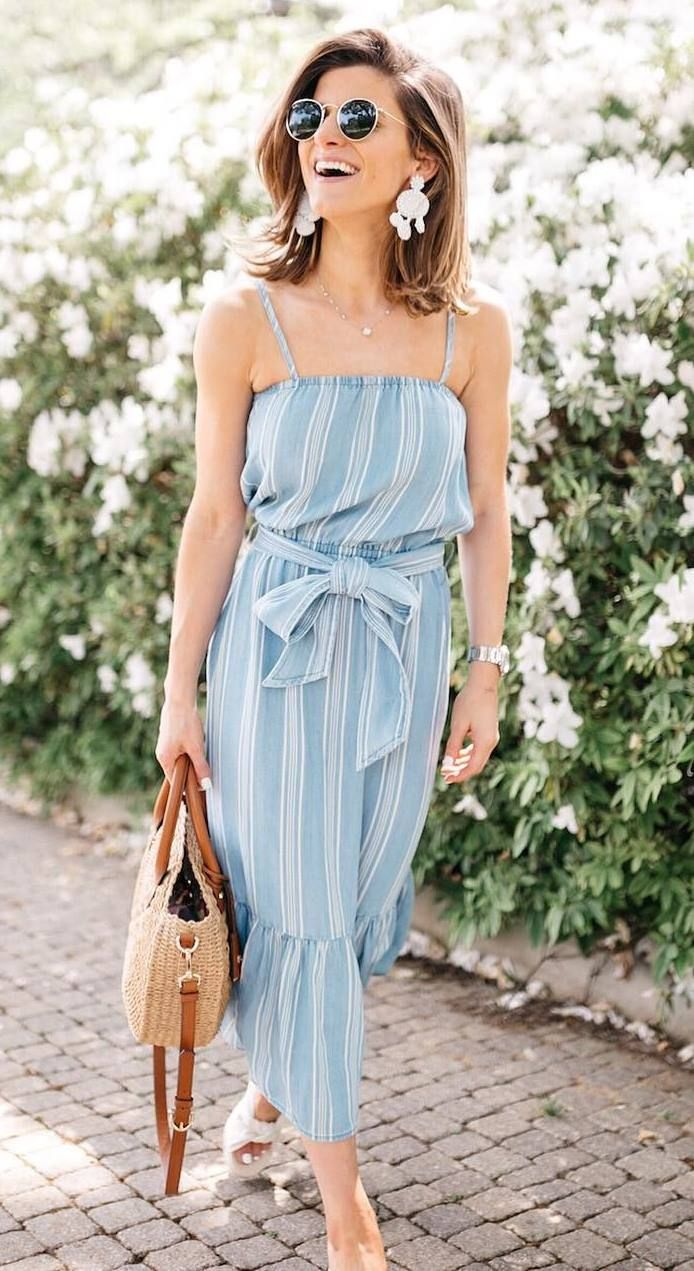 casual summer outfit / striped sundress + bag + slides