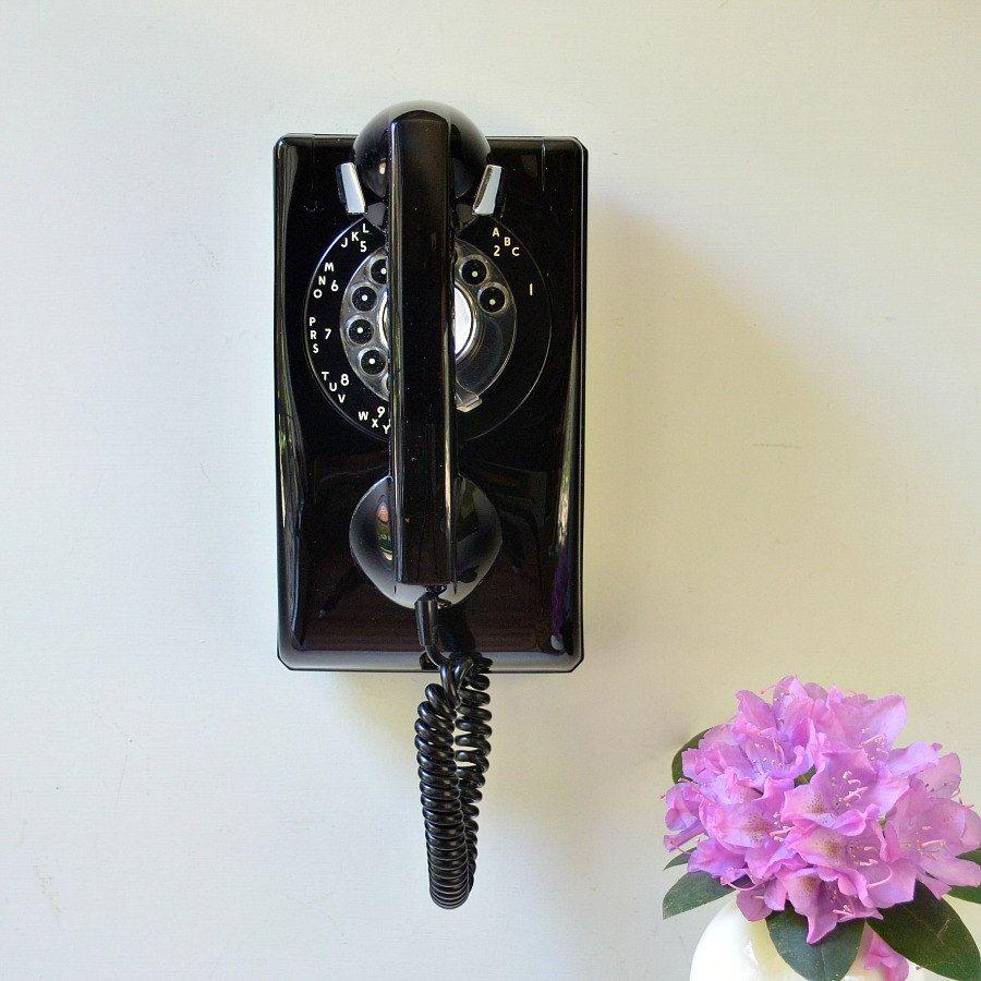 Rotary wall phone; working rotary wall phone in black by Stromberg Carlson #wallphone