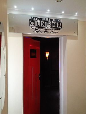 Details about Cinema Theatre customized sign home movie theater vinyl wall decor mural decal