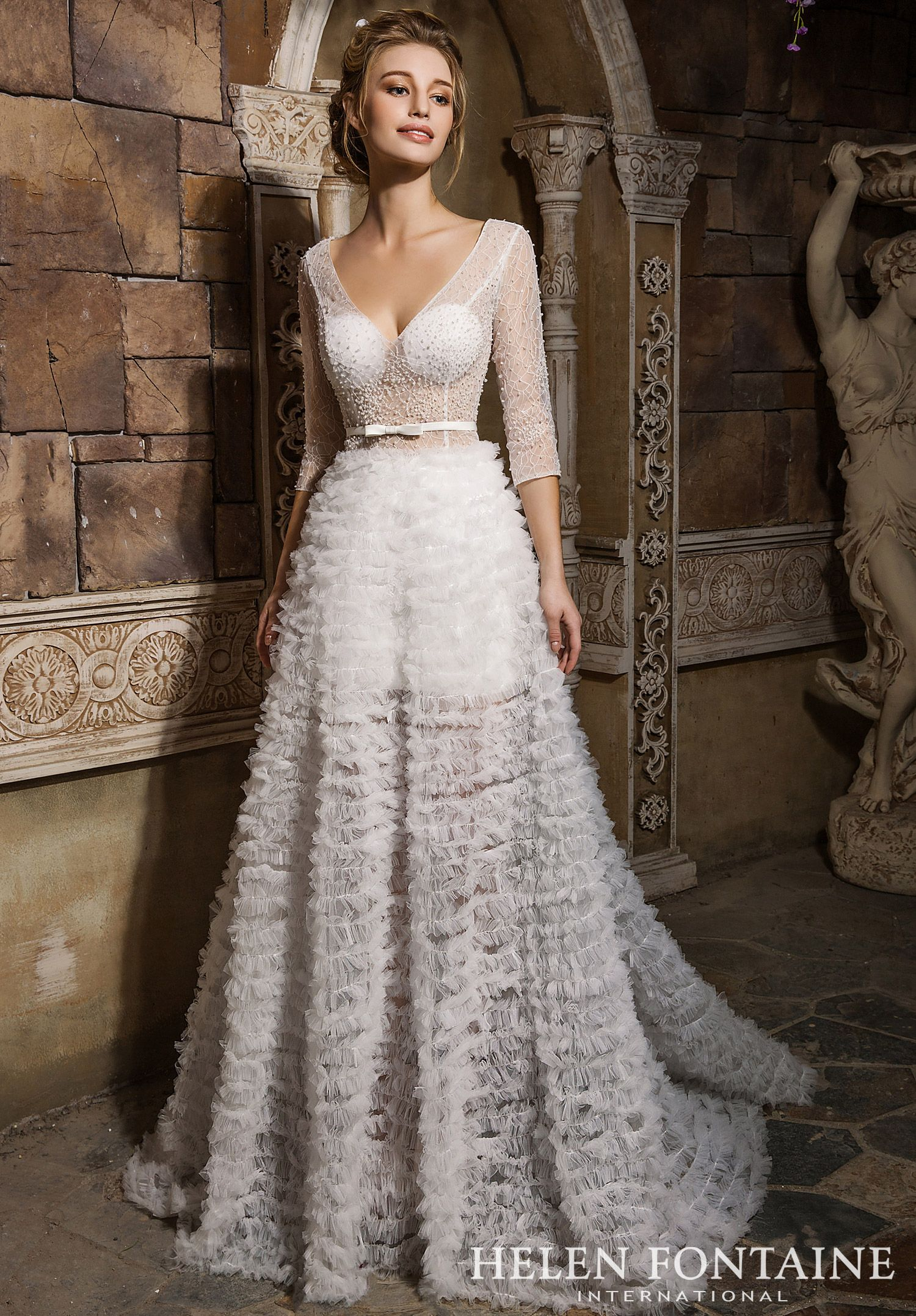 Mature bride wedding dresses  Sheer  Sleeve Beaded Gown with A Bow BeltStyle  HFW