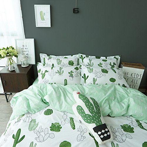 Amazon Com Auvoau Simple Cactus Bedding Children 39 S Cartoon Duvet Cover Set Girl Bedding Set 4pc Twin 1 Ho Bed Linens Luxury Bedding Sets Duvet Bedding