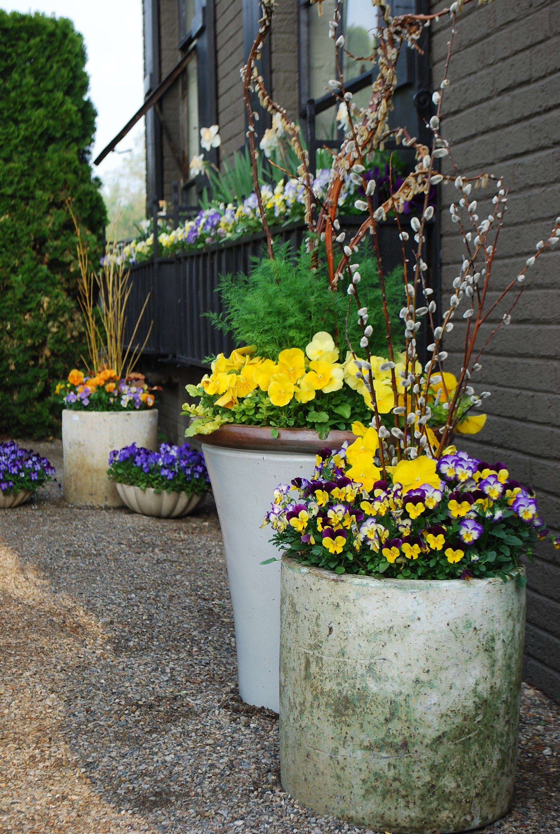 Spring Pots With Twigs.love Container Gardening