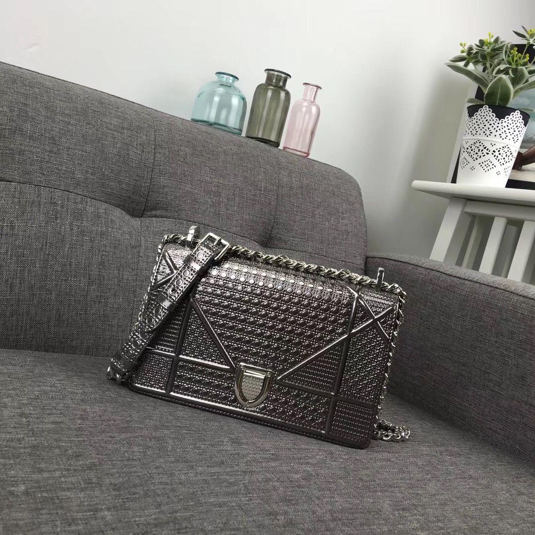 7450497a5 Christian Dior CD woman diorama bag metallic color old silver original  leather version size 21cm