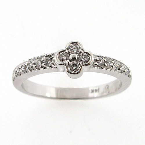14kt White Gold Diamond Clover Shaped Ring With Bead Set Diamonds